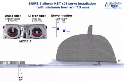 snipe 2 aileron kst x08 servo installation 0 degrees