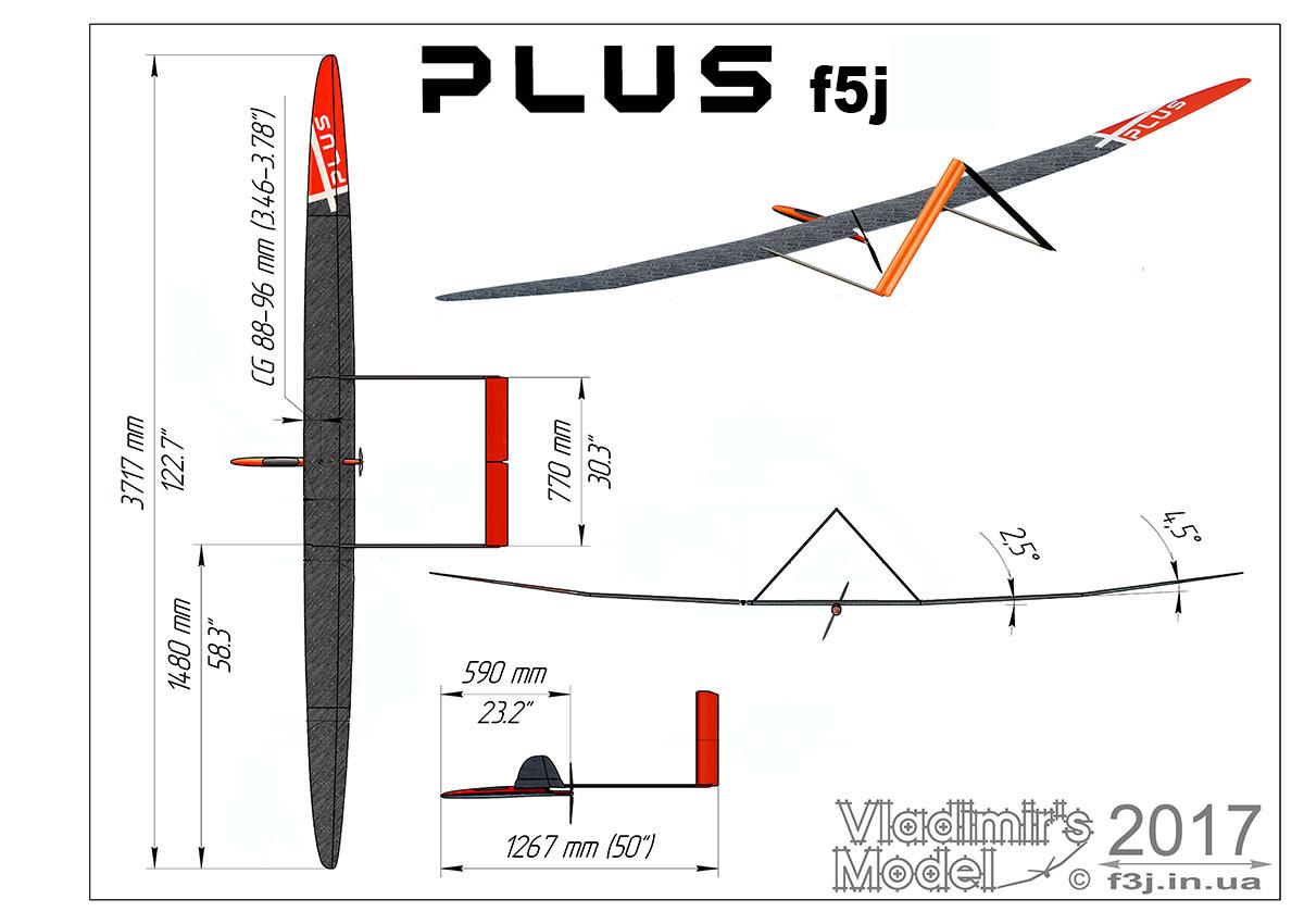 Plus F5J nouvelles formes Plus_f5j_drawing_new